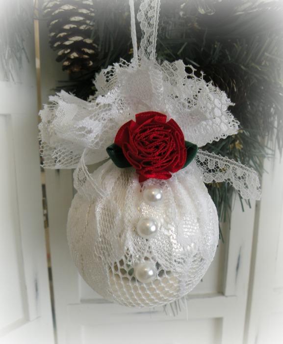 White Lace glass ornament