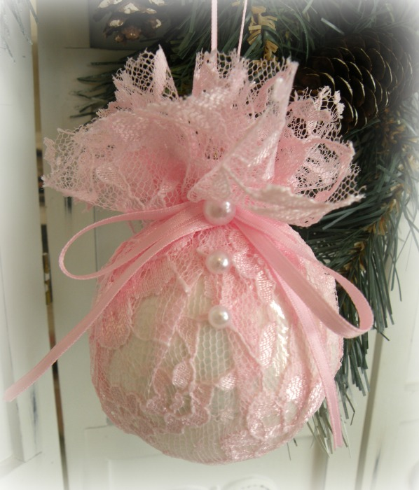 Pink Lace glass ornament
