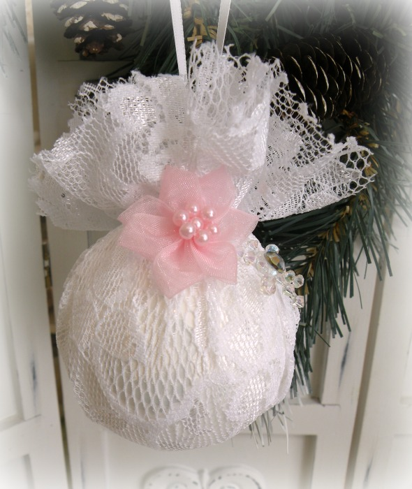 White Lace glass ornament with pink rose