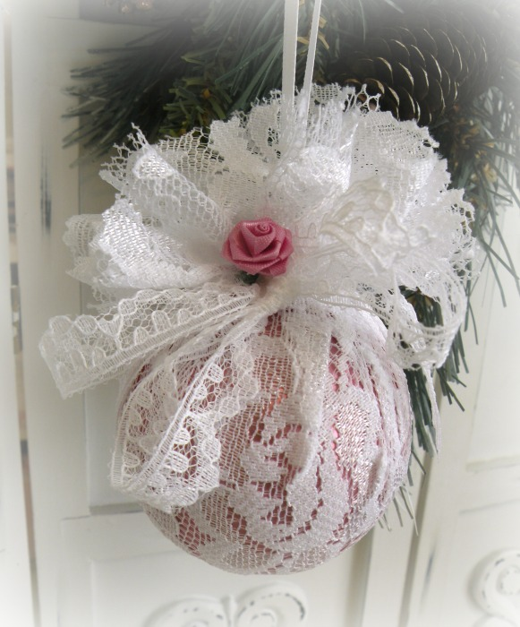 Victorian Lace wrapped ornament