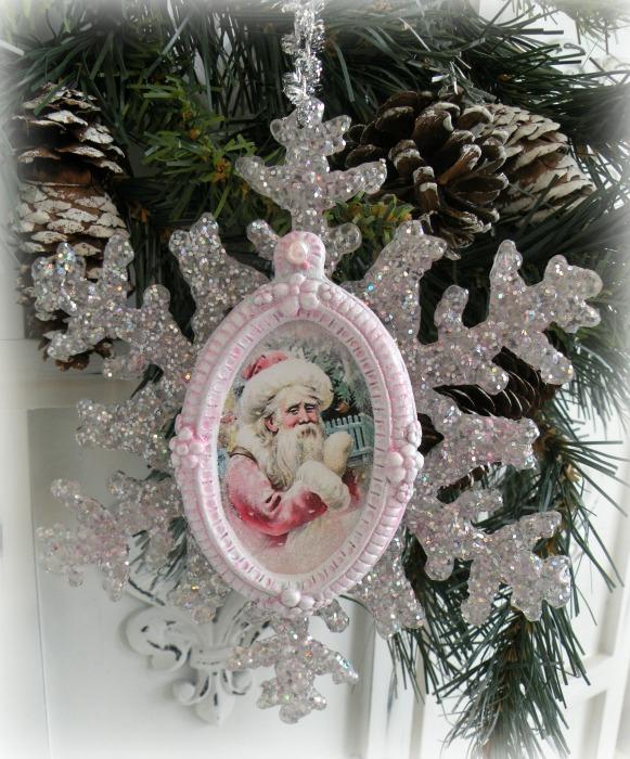 Vintage Santa glittered star ornament