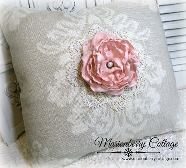 Fluffy pink rose scroll pillow