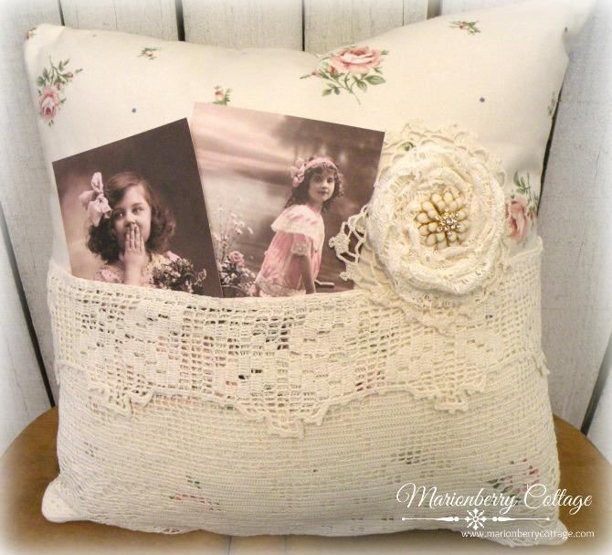 Hillside roses Vintage lace pocket pillow