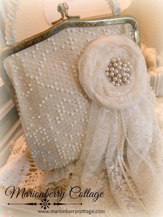 Vintage Bridal/Evening beaded lace purse
