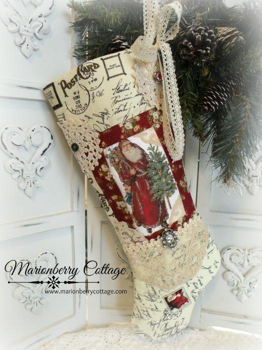 Victorian Red Santa Vintage Postcard long stocking
