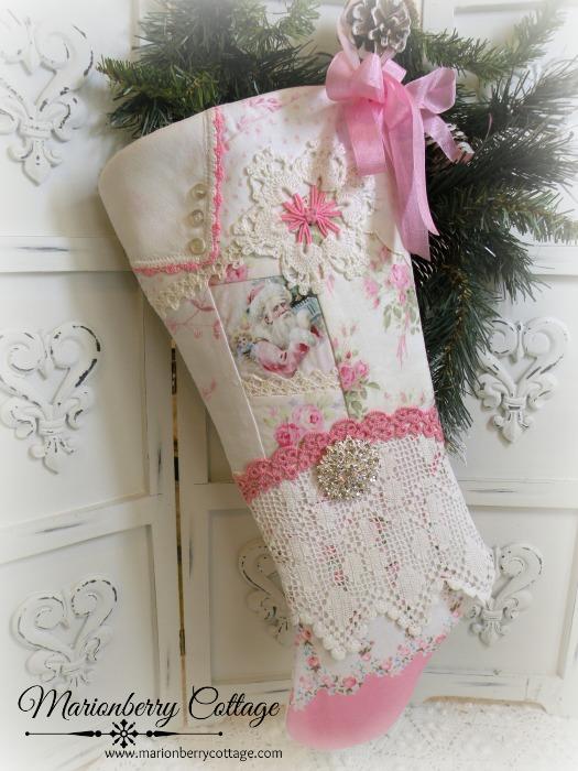 Shabby Santa sampler pink roses long stocking