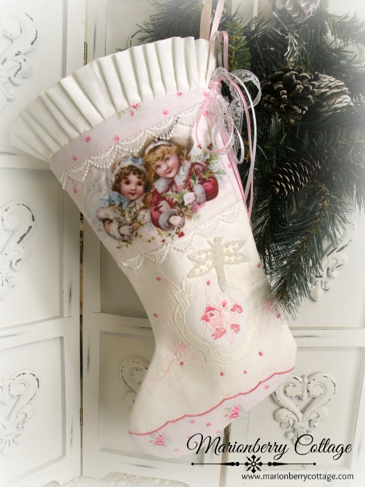Shabby winter girls stocking