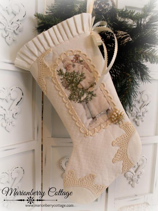 Vintage Santa with Glittered Tree stocking
