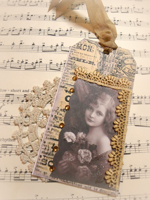 Vintage Victorian Girl gift tag