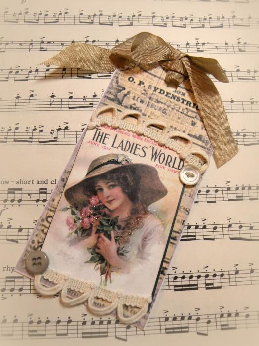 Vintage Ladies World gift tag