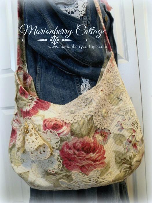 Vintage Roses Slouchy crochet handbag