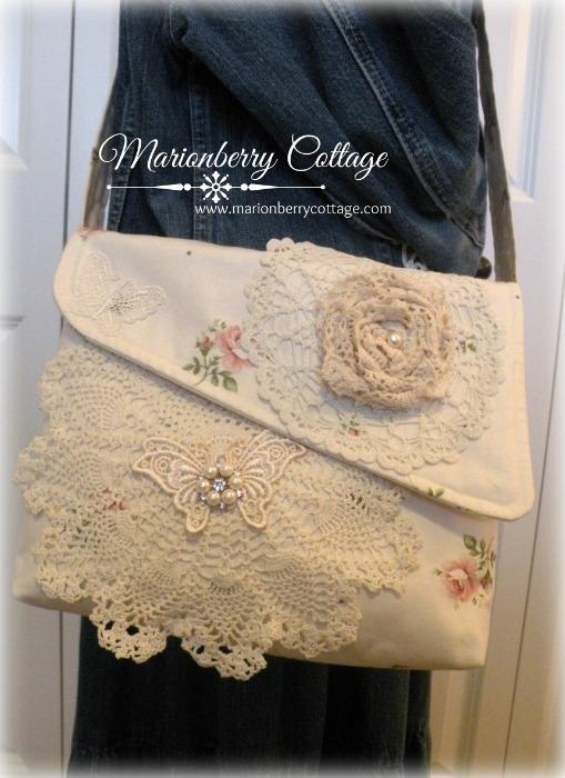 Hillside Rose crochet Messenger bag cross body strap