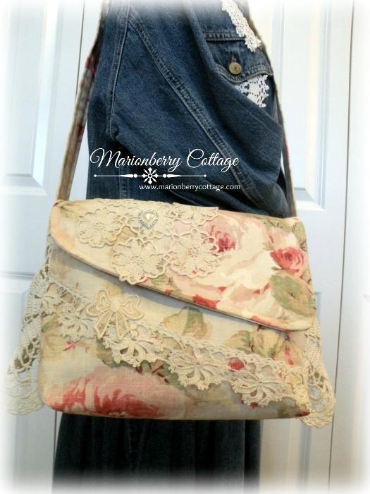 Vintage Rose crochet Messenger bag