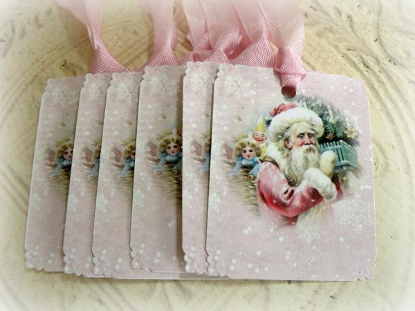 Vintage PINK SANTA gift tags