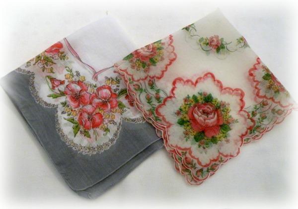 Vintage Pink roses hanky duo