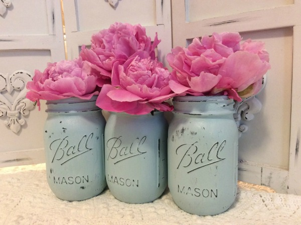 Set of 3 chalked mason jar vases