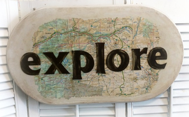 Explore old map wood wall decor