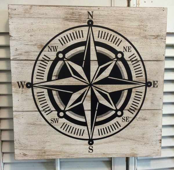Wood compass wall plaque