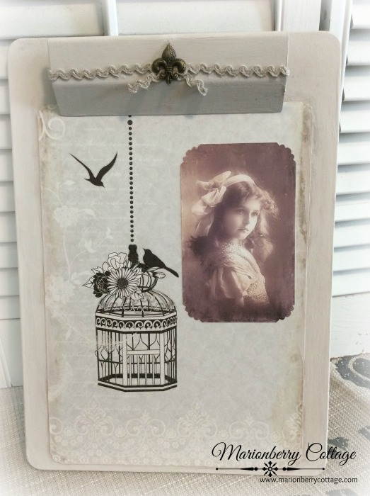 Vintage Bird cage clipboard wall art