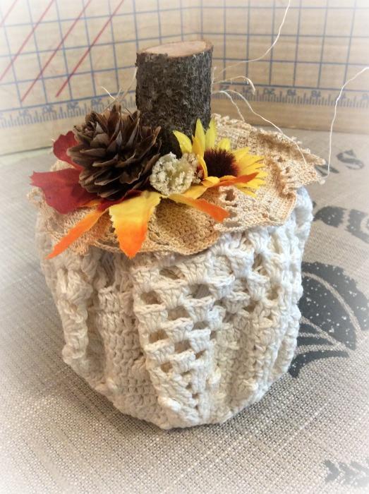 Twine spool Pumpkin wrapped in crochet