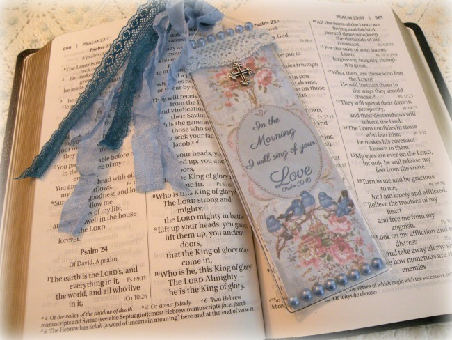 Christian Bible Bookmark Morning bluebirds