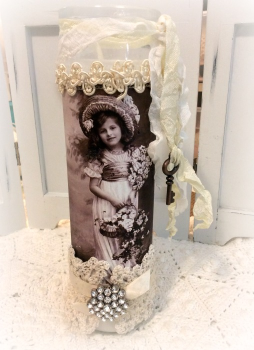 Vintage photo Embellished Prayer Candle