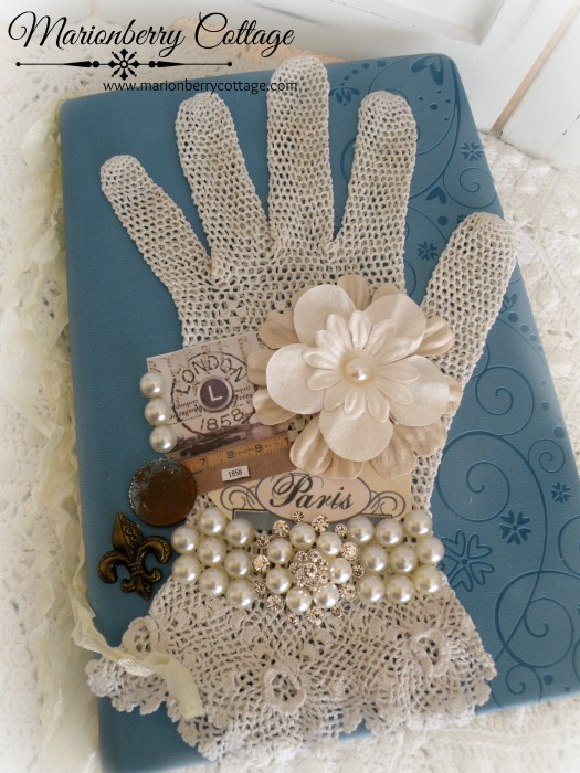 Vintage Lace glove embellished journal