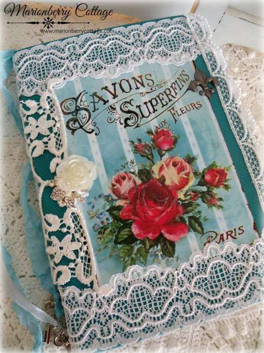 French Savon Fleurs embellished journal