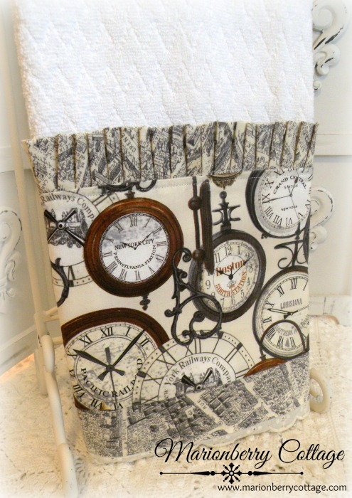 Old world clocks French farmhouse kitchen towel