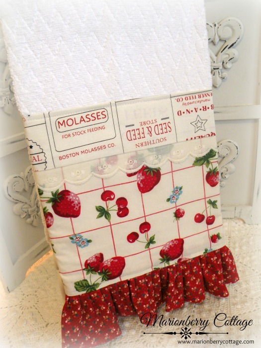 Farmhouse strawberries kitchen towel