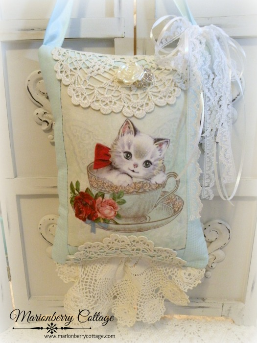 Kitty in a tea cup KEEPSAKE Gift Pillow w/matching tag and sachet