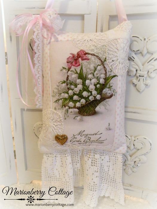 French Lily of the Valley KEEPSAKE Gift Pillow w/matching tag and sachet