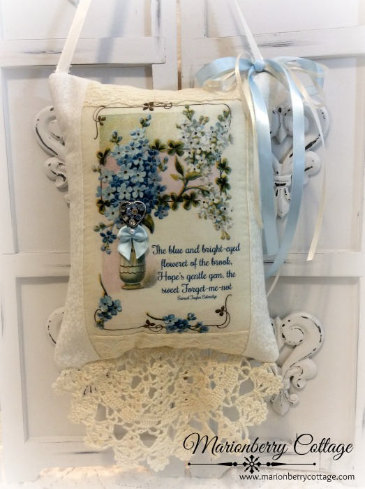Forget me nots verse Keepsake Pillow w/matching tag and sachet