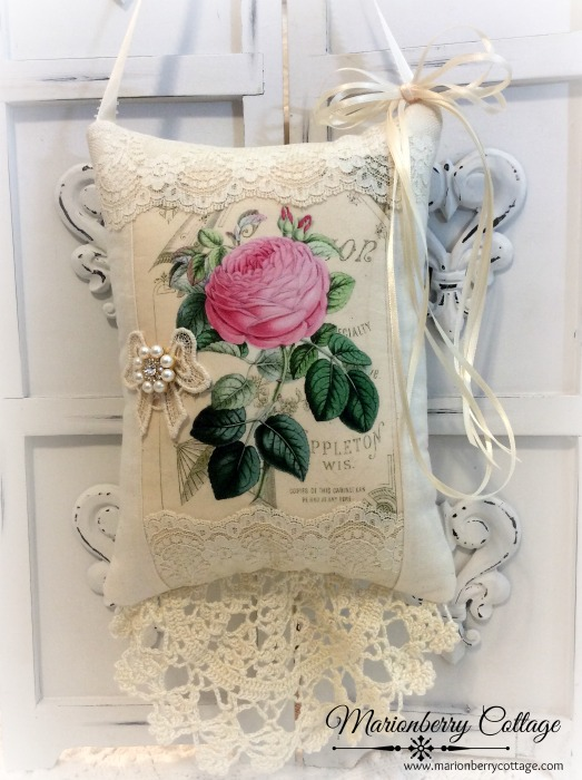 Stinson Pink Rose KEEPSAKE Gift Pillow w/matching tag and sachet