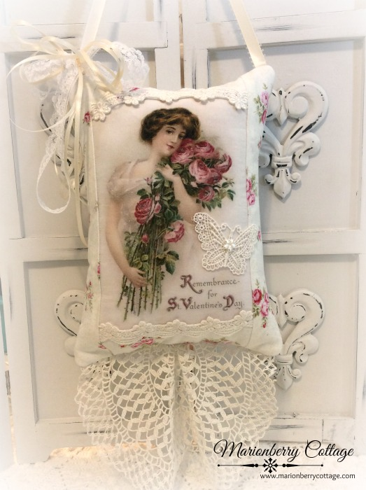 Vintage Valentine Keepsake pillow w/matching tag and sachet