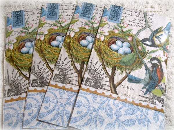 French script Blue Bird Luncheon/Dinner napkins