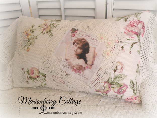 Wild pink roses French collage pillow