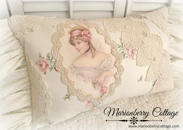 Victorian framed lady rose collage pillow