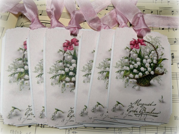 Gift tags French Muguet Lily of the Valley