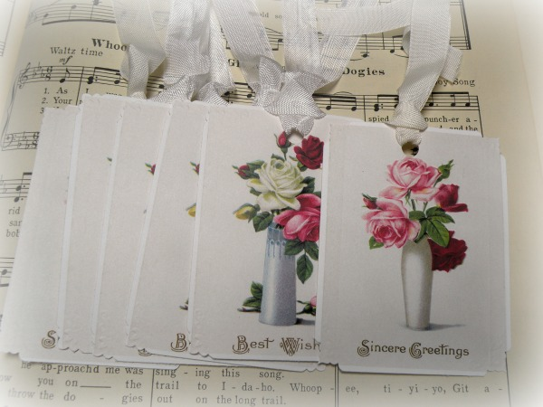 Gift tags vase of roses with mixed greetings