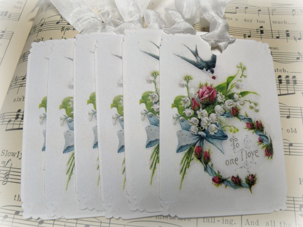 GIFT TAGS Vintage Bluebirds and Roses To the one I love