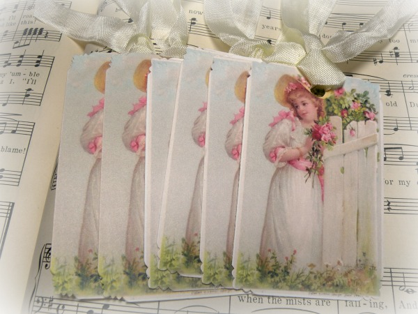 Gift tags soft pink roses Garden Girl at fence