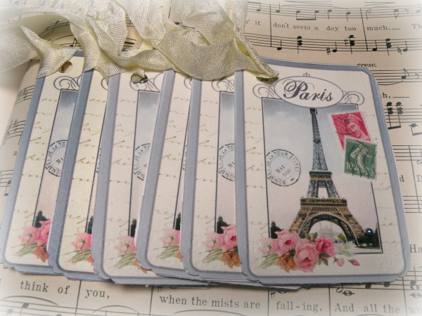 Gift tags French Eiffel tower postcard