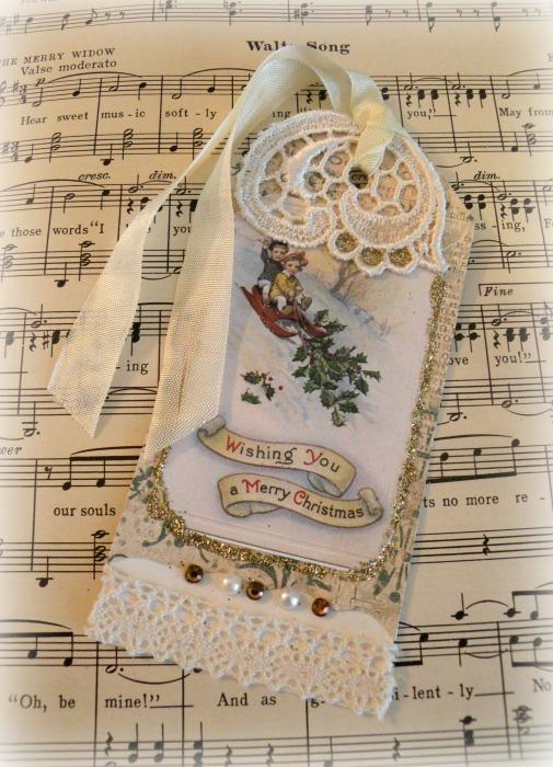 Vintage Sledding gift tag