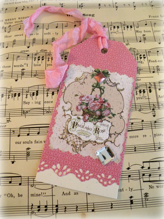 Pageant Rose gift tag