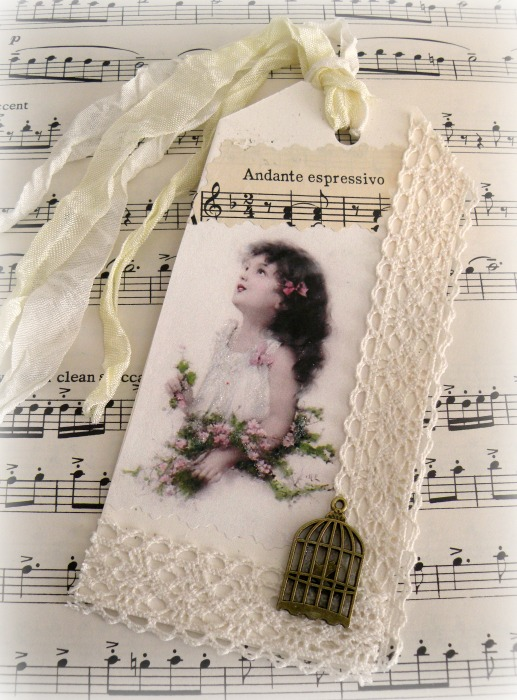 Vintage girl photo gift tag