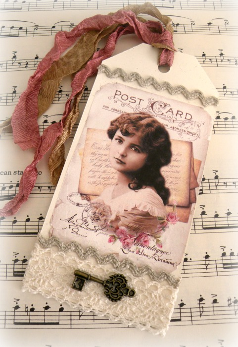 Vintage Postcard collage Gift tag