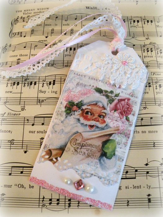 French Musical Pink Santa gift tag