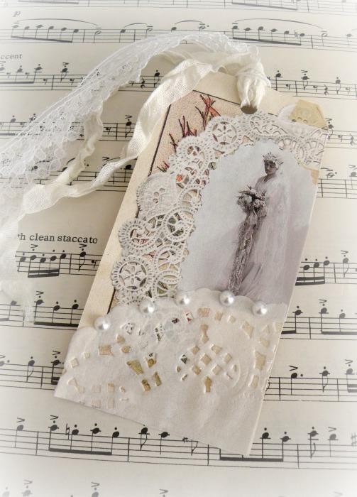 Vintage Edwardian Bride gift tag