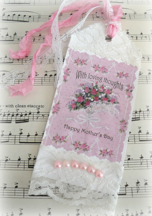 Pink roses Happy Mothers Day gift tag